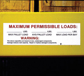 maximum load label on warehouse rack beam